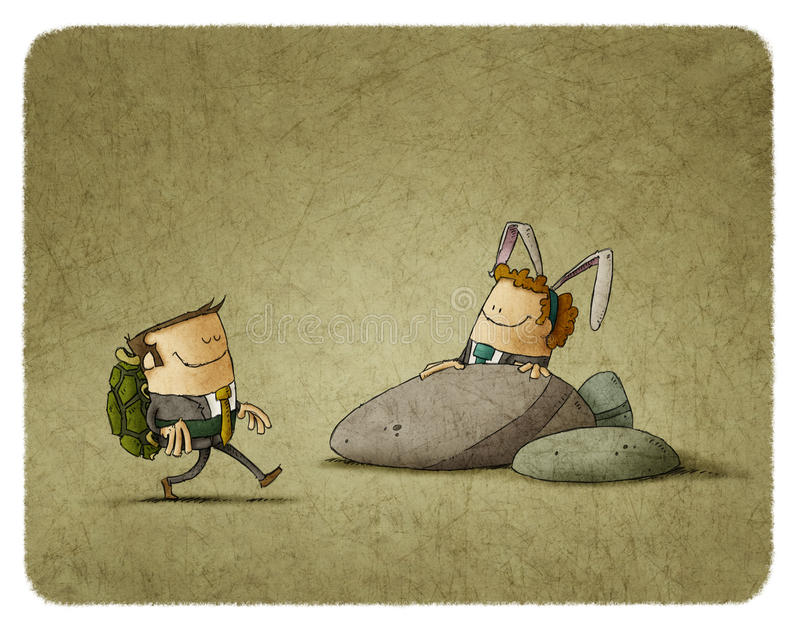 De Schildpad en de Hazen vector illustratie