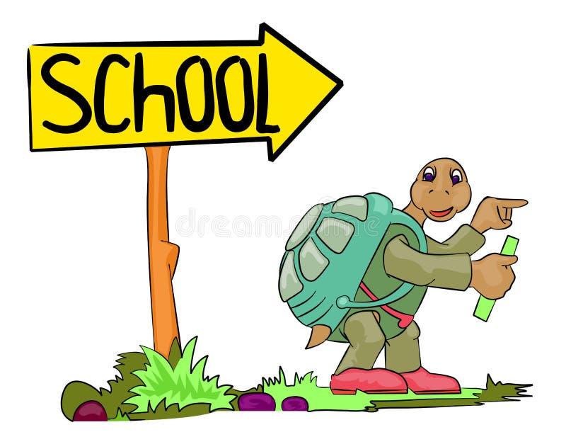 De schildpad gaat naar school stock illustratie