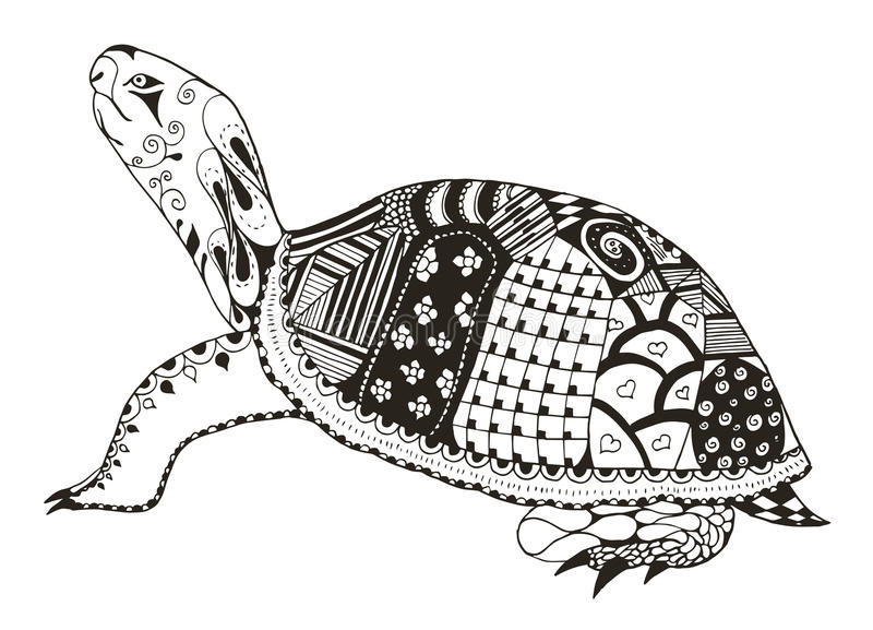 De schildpad zentangle stileerde vector, illustratie, potlood uit de vrije hand vector illustratie