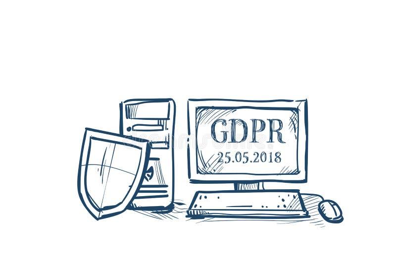 De de schildveiligheid en bescherming van persoonsgegevens op de Verordening GDPR van de computer Algemeen Gegevensbescherming co vector illustratie