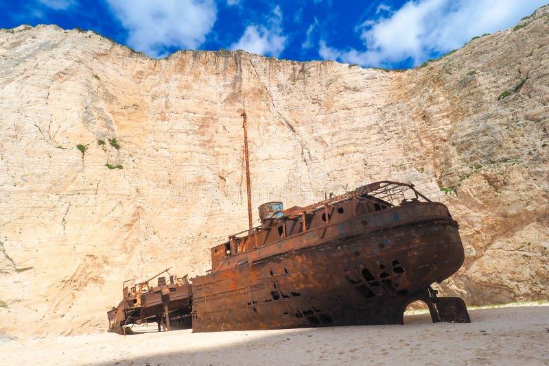 De schipbreuk van Panagiotis bij Navagio-Strand Zakynthos Griekenland royalty-vrije stock foto