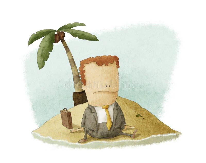 De schipbreukeling van de zakenman op eiland stock illustratie