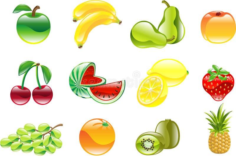 De schitterende glanzende reeks van het fruitpictogram vector illustratie