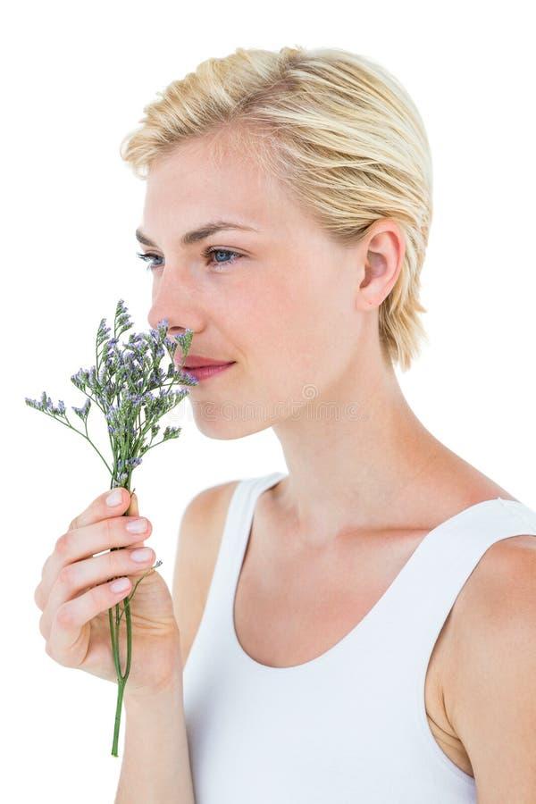 De schitterende ruikende bloemen van de blondevrouw royalty-vrije stock fotografie