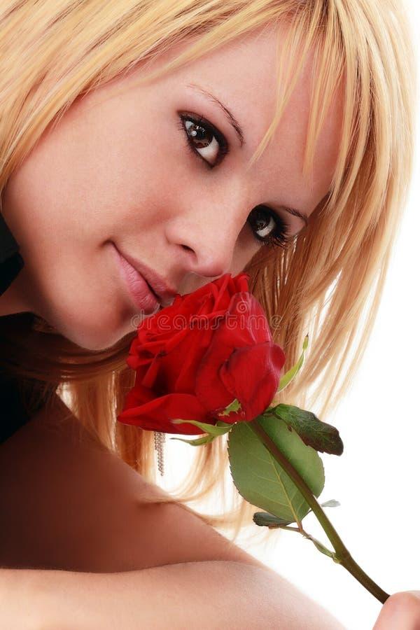 De schitterende vrouw met rood nam toe stock foto