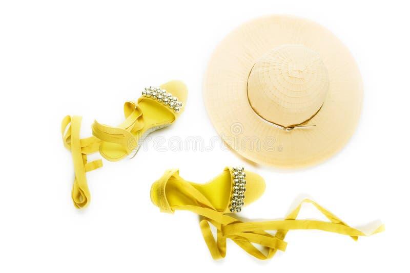 De schoenen en de hoed van de vrouw royalty-vrije stock afbeeldingen