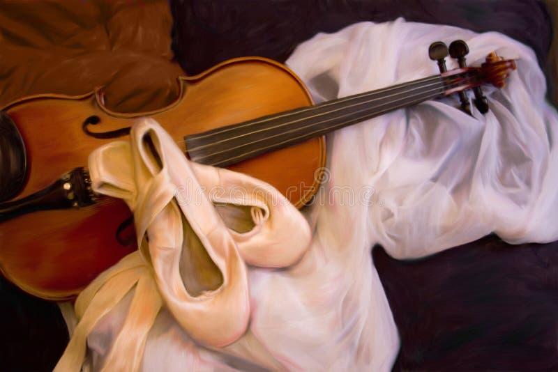 De schoenen en de viool het schilderen van het ballet stock fotografie
