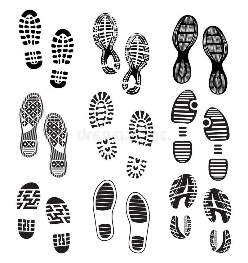 De schoenen van afdrukzolen royalty-vrije illustratie
