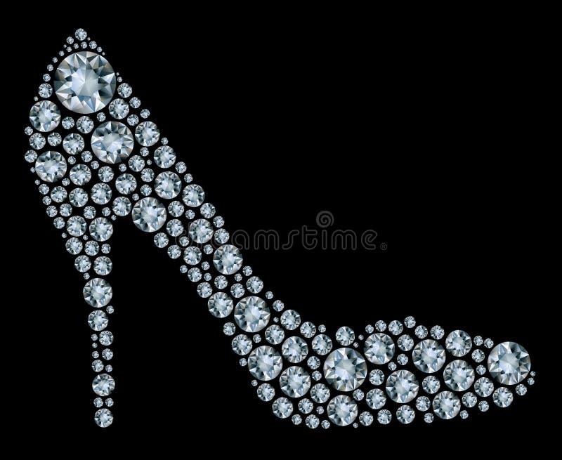De schoenen van de diamant op zwarte achtergrond vector illustratie