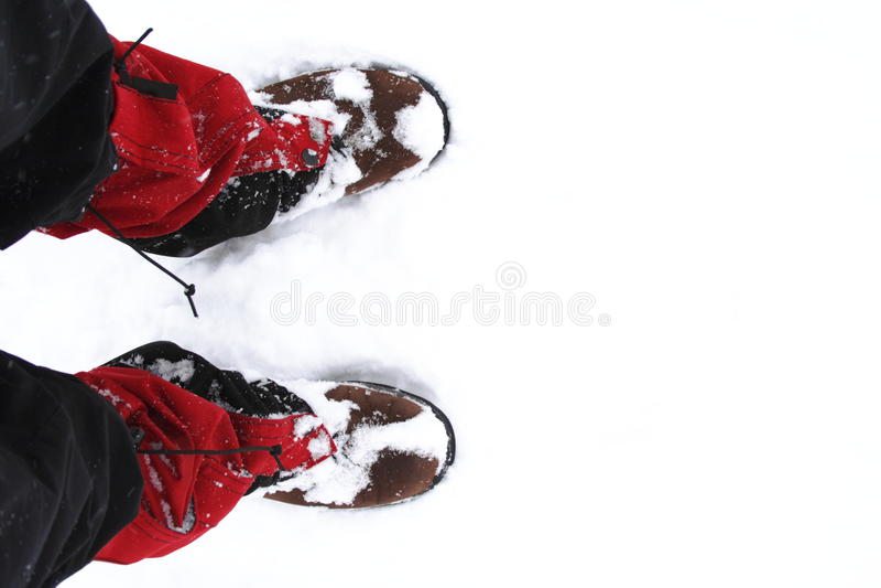 De schoenen van de sneeuw tijdens wandeling royalty-vrije stock foto's