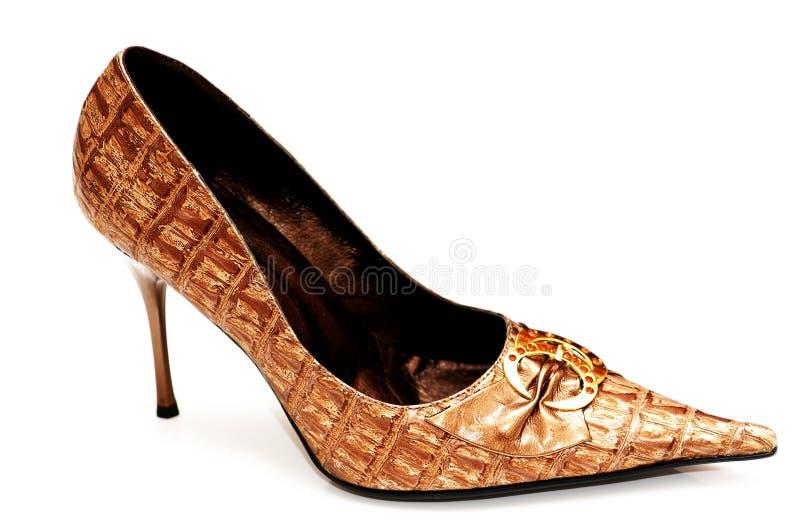 De schoenen van de vrouw die op wh worden geïsoleerds royalty-vrije stock foto