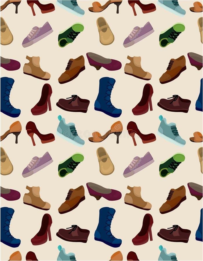 De schoenen van het beeldverhaal geplaatst naadloos patroon vector illustratie
