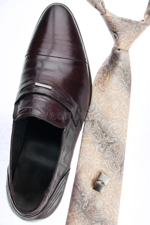 De schoenen van mensen, band, cufflinks, klassieke stijl royalty-vrije stock afbeelding