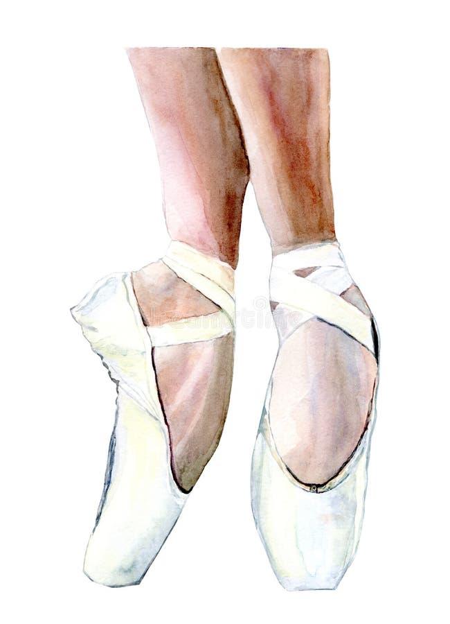 De schoenen van Pointe Schoenen voor ballet Benen van een ballerina in pointeschoenen Klassiek ballet stock illustratie