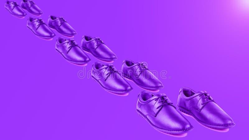De schoenen van purpere mensen op een purpere achtergrond schilderen de weg af stock afbeeldingen