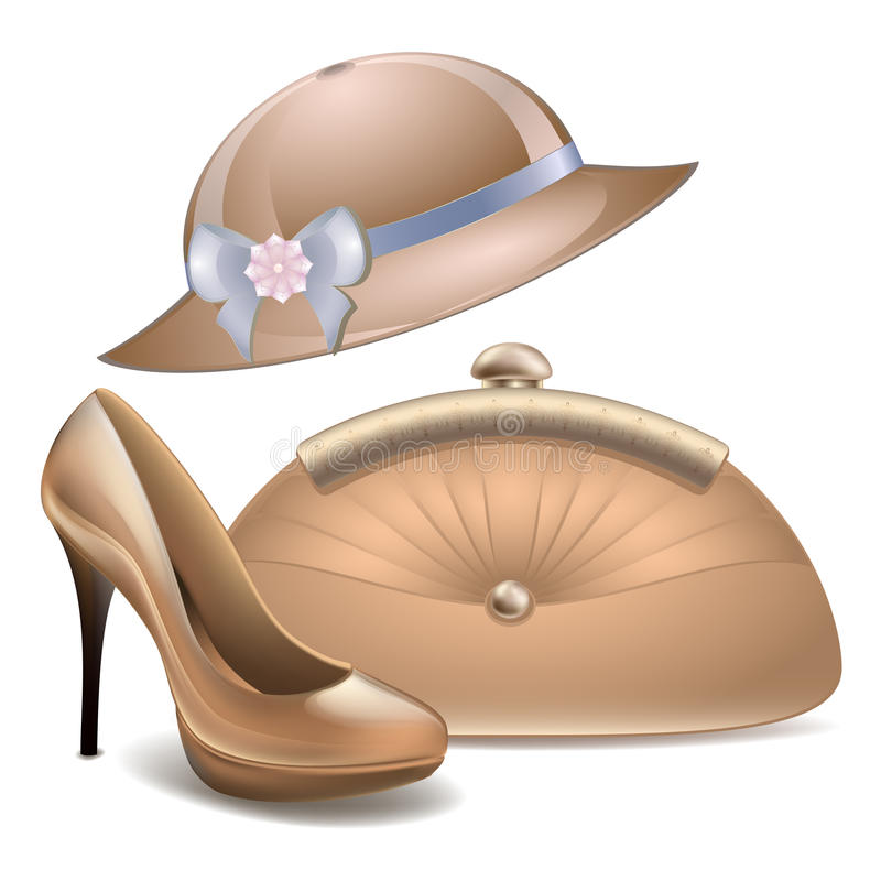 De schoenen van vrouwen en van de beurstoebehoren van de hoeden uitstekende handtas vector witte achtergrond vector illustratie
