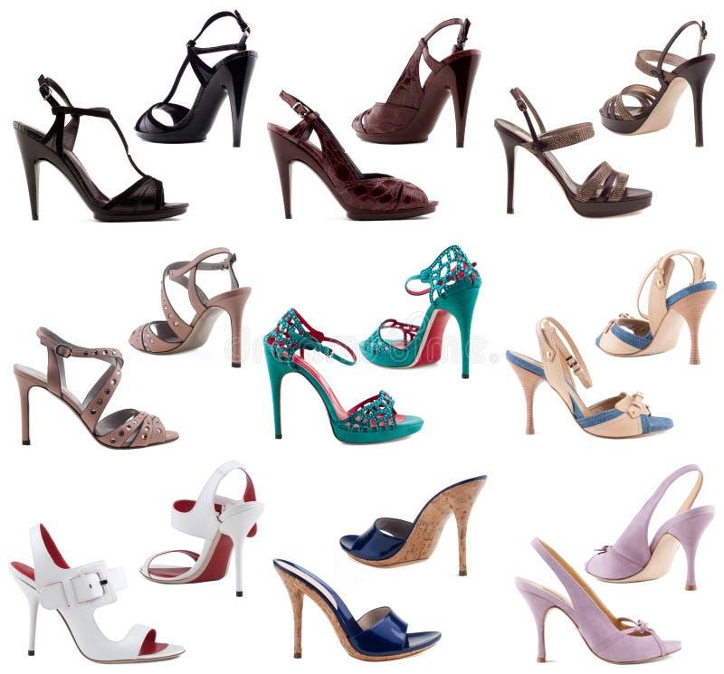 De schoenen van vrouwen op een witte achtergrond. royalty-vrije stock fotografie