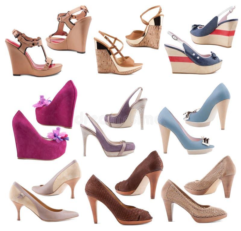 De schoenen van vrouwen op een witte achtergrond. royalty-vrije stock foto