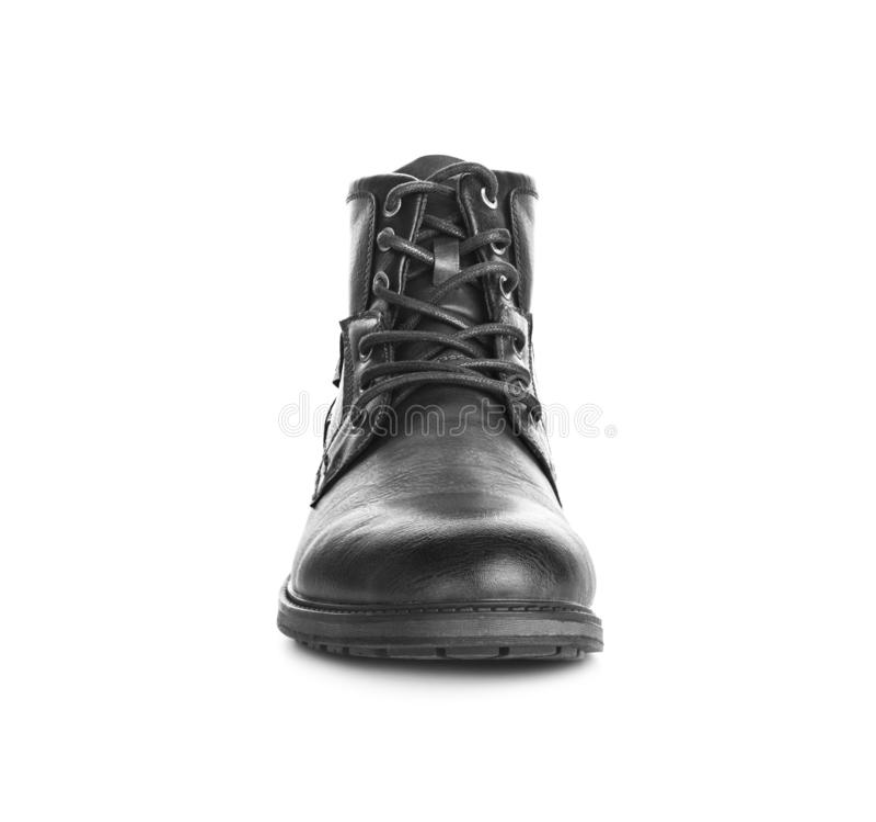 De schoenen zwarte toevallig van mensen Geïsoleerdj op witte achtergrond stock fotografie