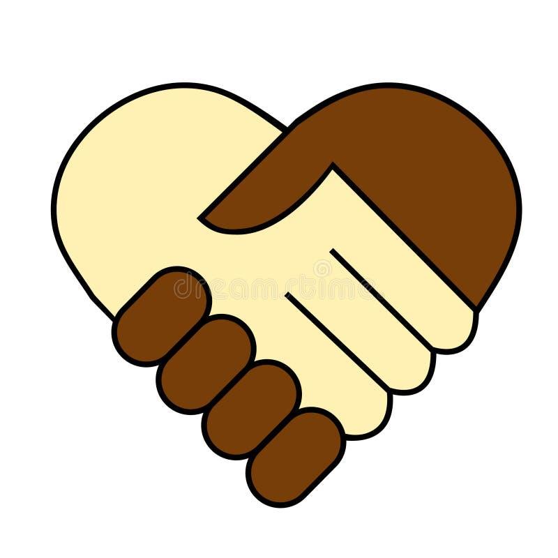 De schok van de hand tussen de zwart-witte mens royalty-vrije illustratie