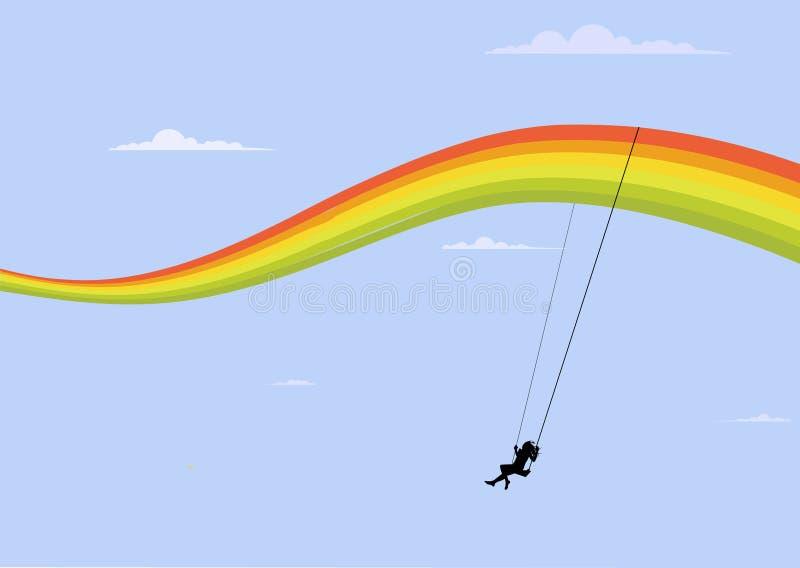 De schommeling van de regenboog stock illustratie