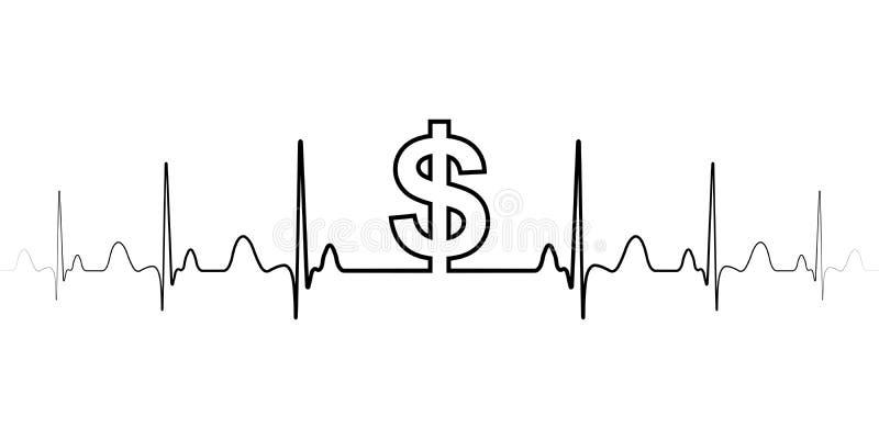 De schommelingen van het tekensymbool in de vectordollar van de wisselkoersdollar ondertekenen en golven de hartslag de uitwissel royalty-vrije illustratie