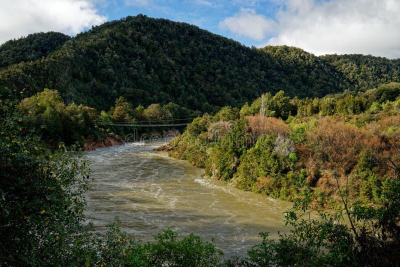De schommelingsbrug van de Bullerkloof, Buller-district, Nieuw Zeeland stock afbeeldingen