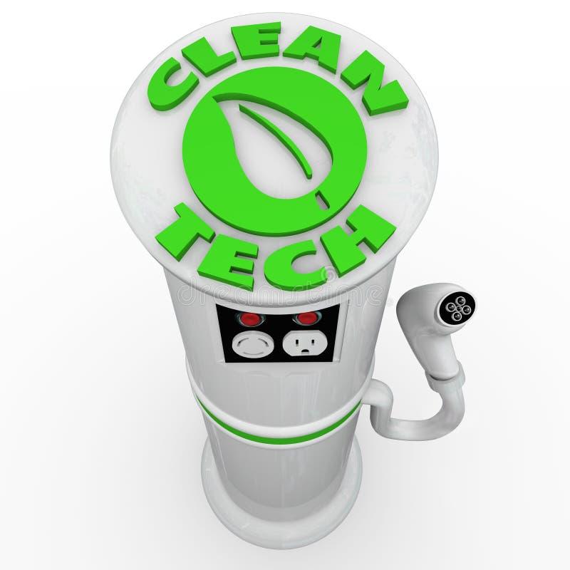 De schone het Elektrische voertuigauto van Technologie EV het Laden Stop van de Postmacht vector illustratie