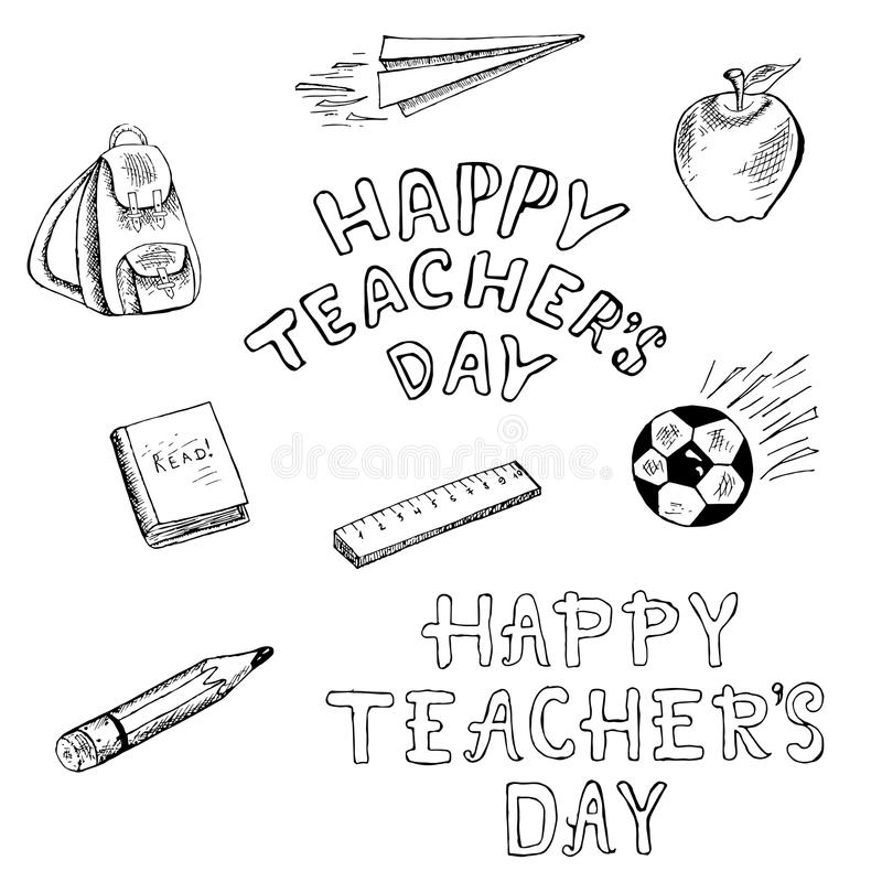 De school heeft illustratie bezwaar De krabbelrugzak van de inktschets, document vliegtuig, appel, maatregel, potlood, bal royalty-vrije illustratie