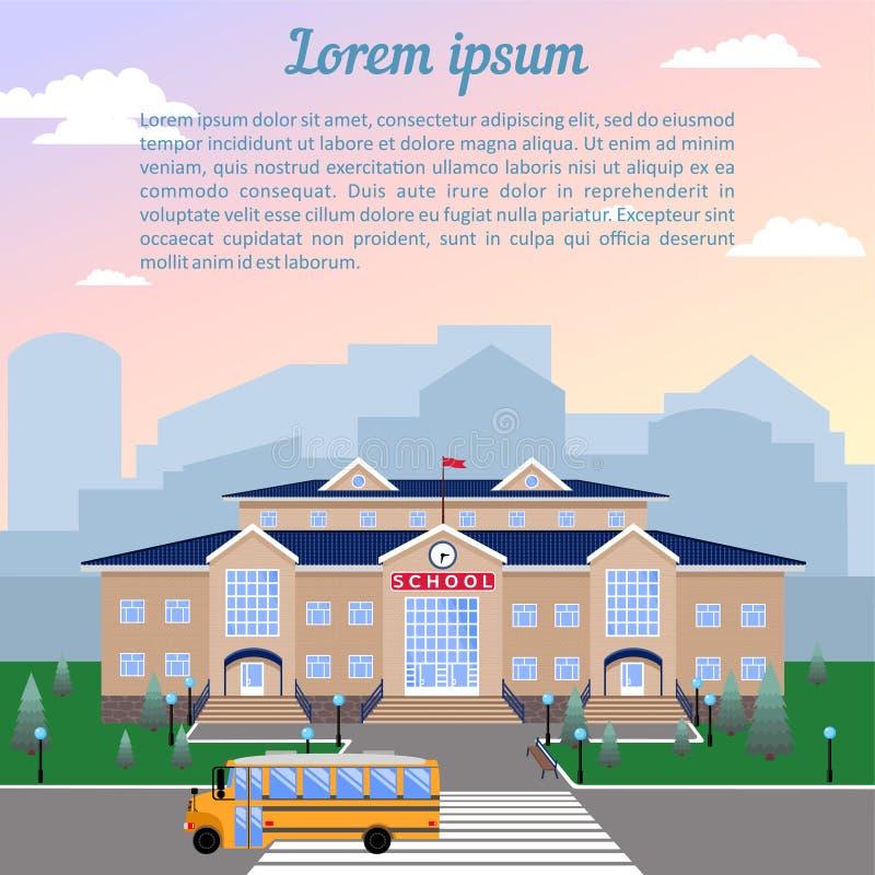 de school, de klassieke lichte beige baksteenbouw met blauw dak, de klok, de vlag, het gazon en de school vervoeren per bus royalty-vrije illustratie