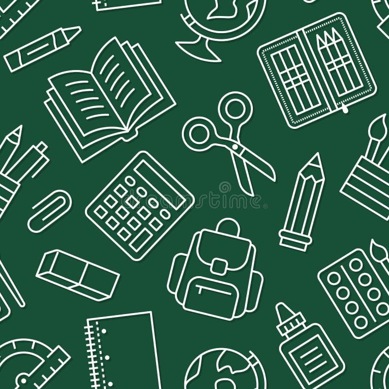 De school voorziet naadloos patroon van lijnpictogrammen De achtergrond van studiehulpmiddelen - bol, calculator, boek, potlood,  vector illustratie