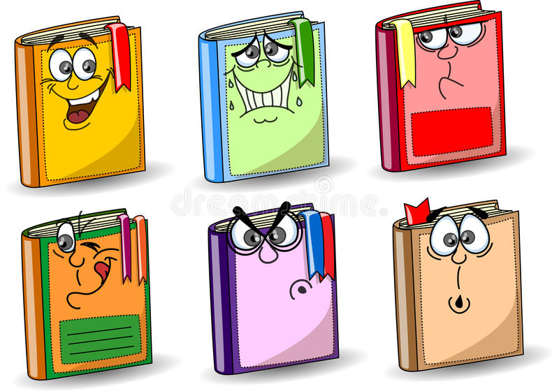 De schoolboeken van het beeldverhaal stock illustratie