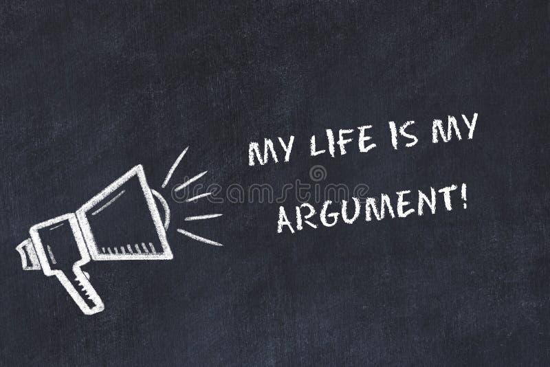 De schoolbordschets met luidspreker en motievenuitdrukking mijn leven is mijn argument stock illustratie