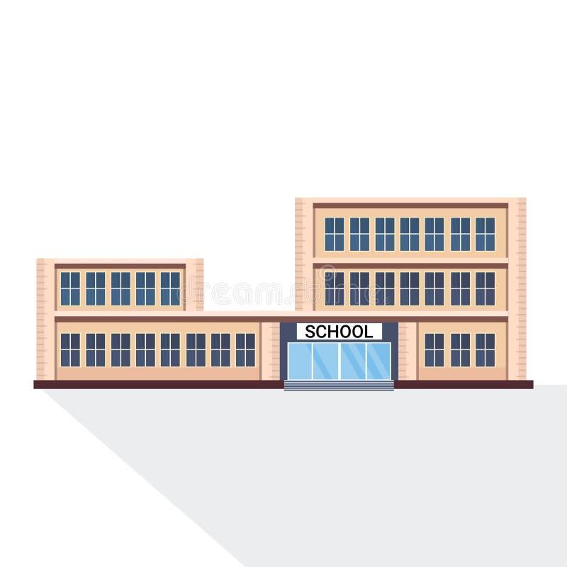 De schoolbouw de buiten witte vlakke achtergrond van het onderwijsconcept stock illustratie