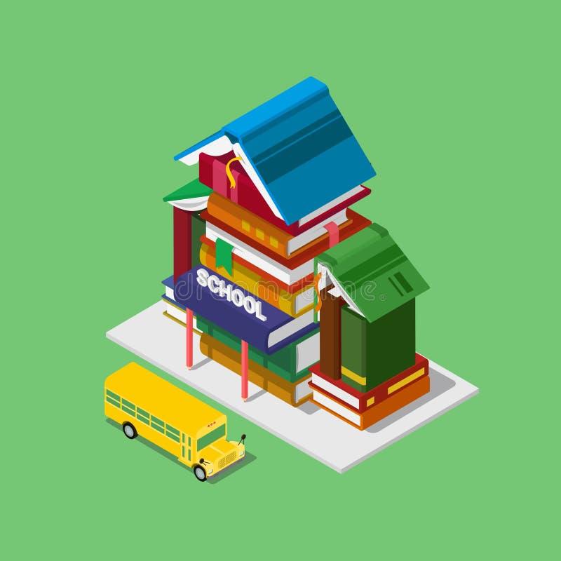 De schoolbouw 3d isometrische vector van de onderwijskennis de vlak royalty-vrije illustratie