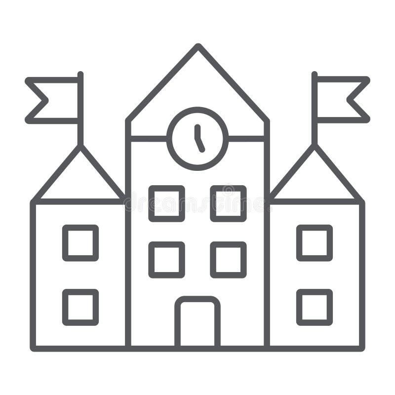 De schoolbouw dun lijnpictogram, onderwijs en architectuur, universitair teken, vectorafbeeldingen, een lineair patroon op a vector illustratie