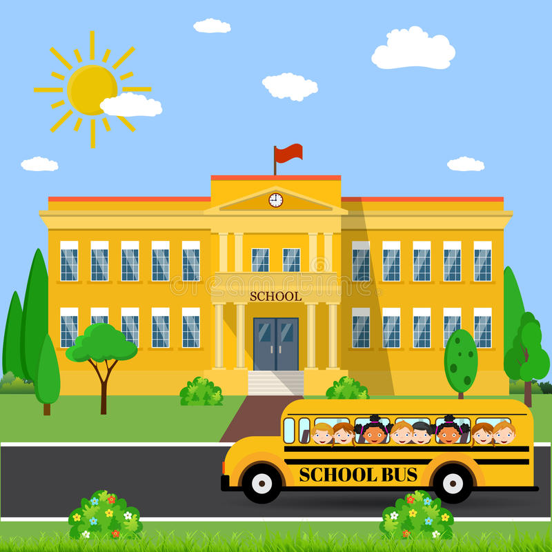 De schoolbouw en bus stock illustratie