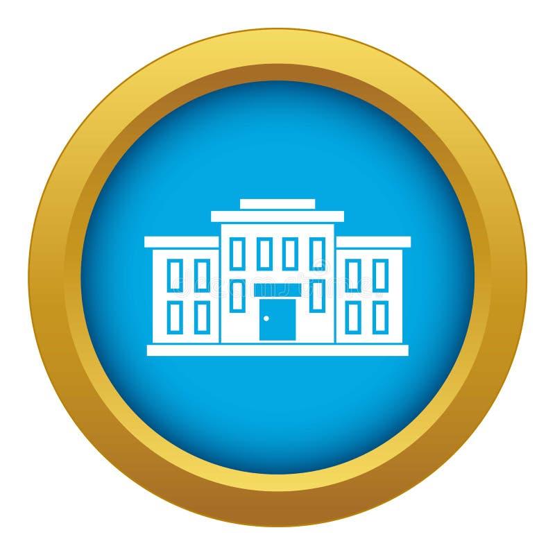 De schoolbouw geïsoleerde pictogram blauwe vector royalty-vrije illustratie