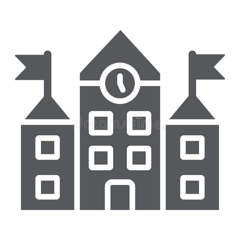 De schoolbouw glyph pictogram, onderwijs en architectuur, universitair teken, vectorafbeeldingen, een stevig patroon op een wit royalty-vrije illustratie