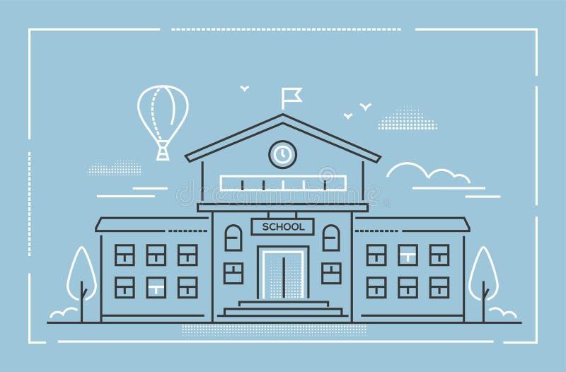 De schoolbouw - moderne de stijl vectorillustratie van het lijnontwerp stock illustratie