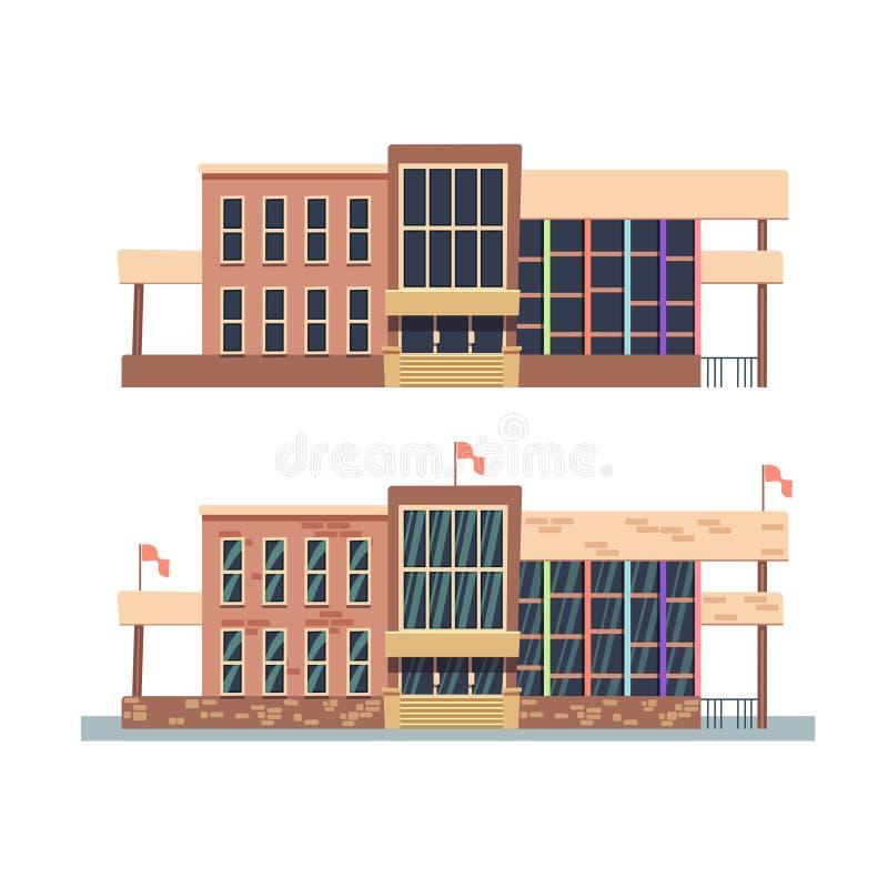 De schoolbouw op witte achtergrond royalty-vrije illustratie