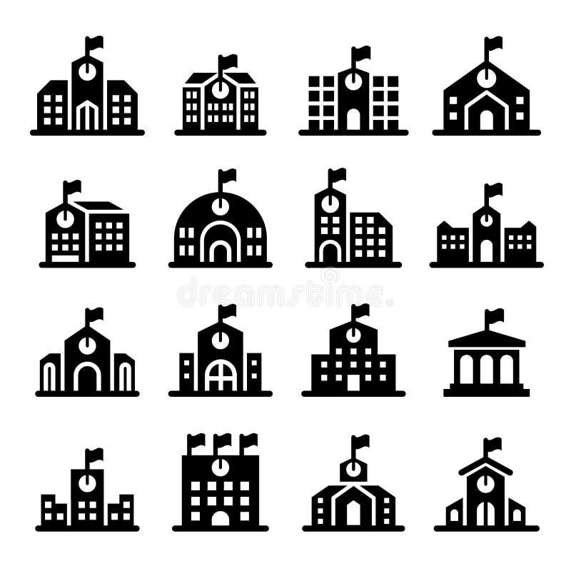 De schoolbouw pictogram royalty-vrije illustratie