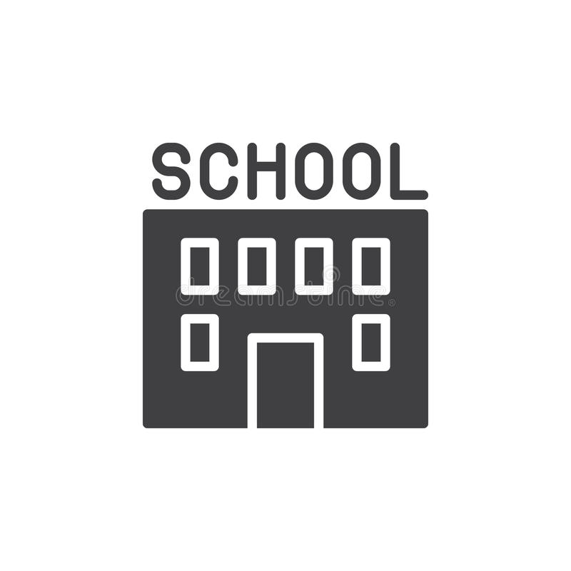 De schoolbouw pictogram vector, gevuld vlak teken, stevig die pictogram op wit wordt geïsoleerd royalty-vrije illustratie