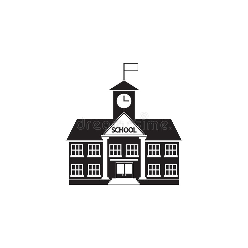 De schoolbouw pictogram vector, stevig die embleem, pictogram op w wordt geïsoleerd vector illustratie