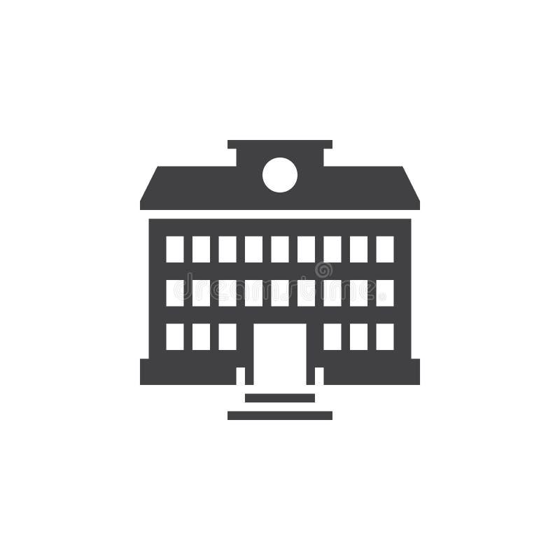 De schoolbouw pictogram vector, stevig embleem, geïsoleerd pictogram royalty-vrije illustratie