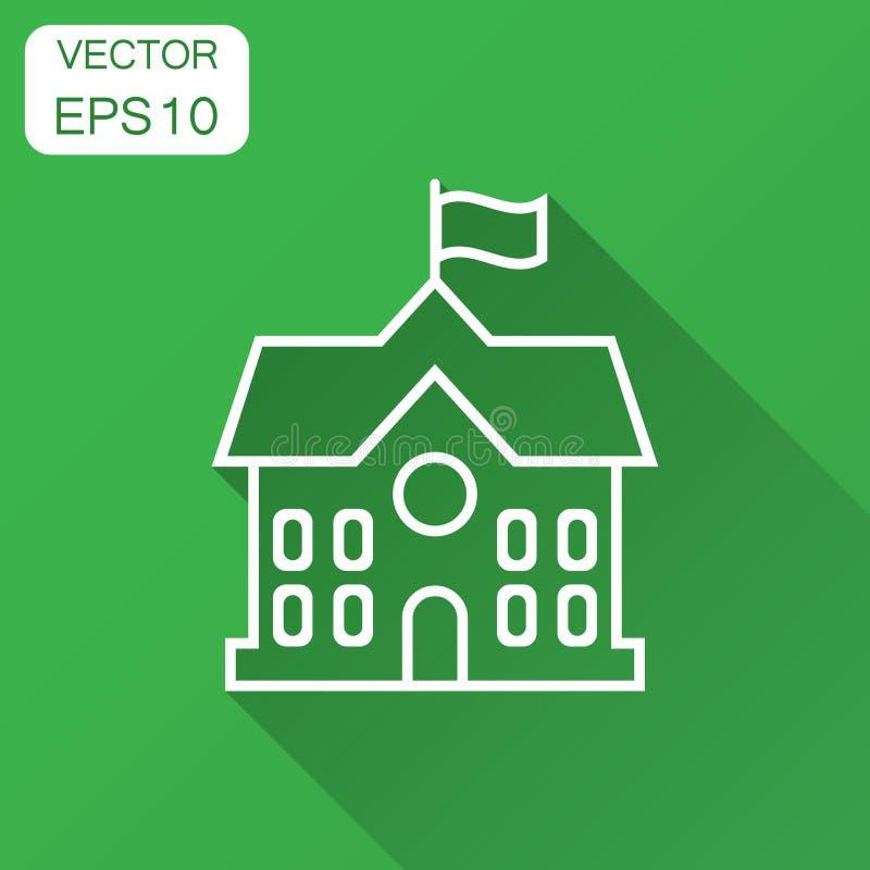De schoolbouw pictogram in vlakke stijl De vectorillustratie van het universiteitsonderwijs met lange schaduw Bank, overheids bed stock illustratie