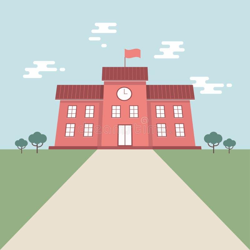 De schoolbouw in vlakke stijl op blauwe hemelachtergrond Terug naar het ontwerpconcept van de schoolbanner royalty-vrije illustratie