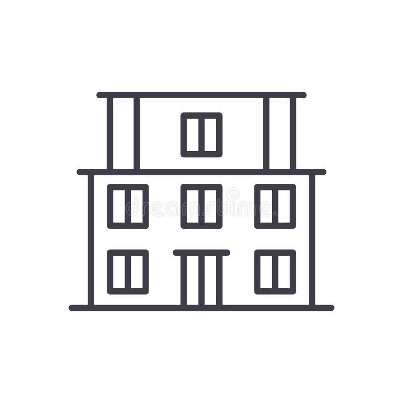 De schoolbouw zwart pictogramconcept De schoolbouw vlak vectorsymbool, teken, illustratie royalty-vrije illustratie