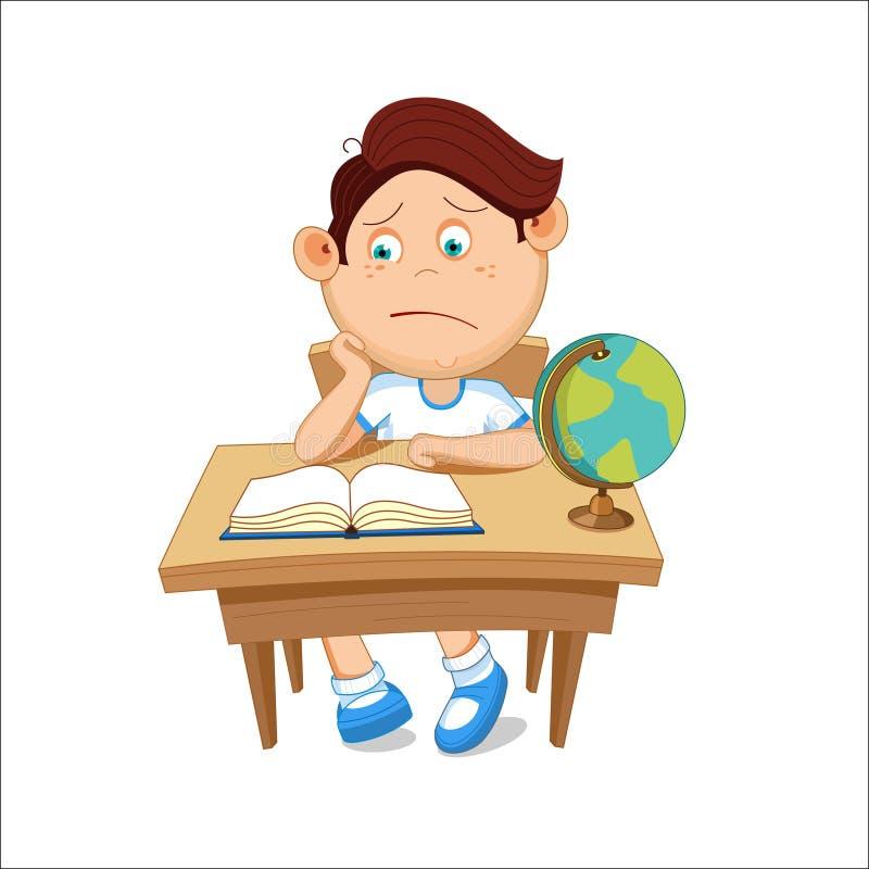 De schooljongen zit bij een lijst, lezend een boek, vectorillustratie vector illustratie