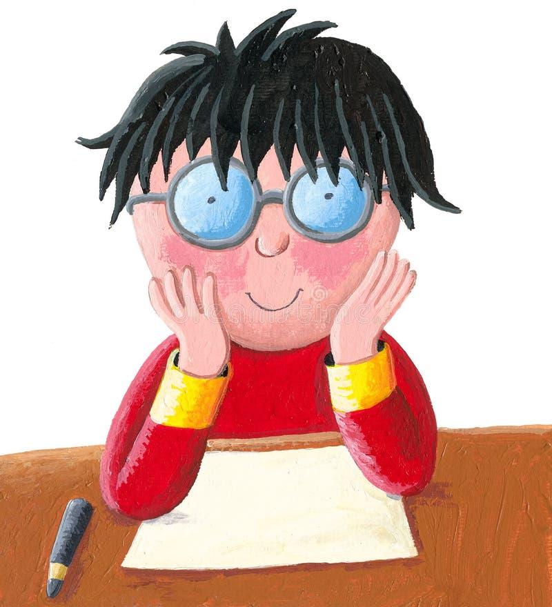 De schooljongenzitting bij zijn bureau en treft voor een test voorbereidingen - schrijvend stock illustratie